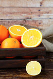 Ripe oranges in the drawer Royalty Free Stock Image