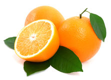 Ripe oranges with green leaf. Royalty Free Stock Images