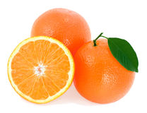 Ripe oranges with green leaf. Stock Photography