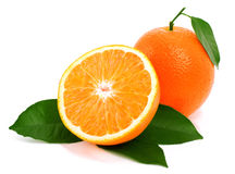 Ripe oranges with green leaf. Royalty Free Stock Photos