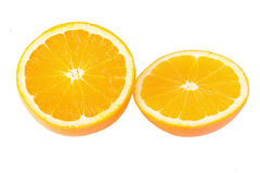 Ripe oranges isolated on white background. Orange in a cut Royalty Free Stock Image