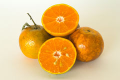 Ripe oranges isolated on white background. Orange in a cut Stock Image