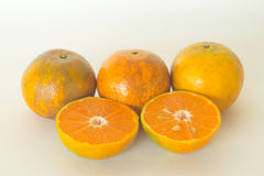 Ripe oranges isolated on white background. Orange in a cut Stock Photos