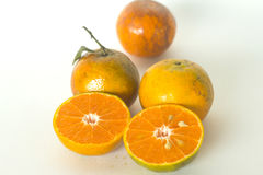 Ripe oranges isolated on white background. Orange in a cut Royalty Free Stock Photos