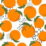 Ripe oranges, leaves, colorful seamless pattern. Decorative background with citrus fruits vector illustration
