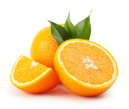 Ripe oranges with leaves Stock Image