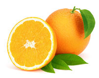 Ripe oranges with leaves. Stock Images