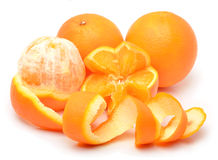 Ripe oranges and slices Stock Photography