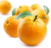 Ripe Oranges With Leaves Royalty Free Stock Images