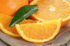 Ripe oranges on wooden table Royalty Free Stock Photo