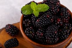 Ripe organic blackberries. In wooden bown on gray stone background Stock Photos