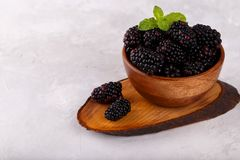 Ripe organic blackberries. In wooden bown on gray stone background Stock Photo