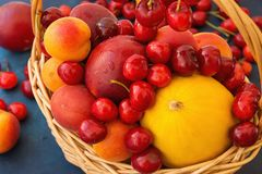 Ripe Organic Fruits Sweet Cherries Nectarines Apricots Melon Vibrant Colors in Wicker Basket Scattered on Tabletop. Summer. Ripe Organic Fruits Sweet Cherries Royalty Free Stock Photo