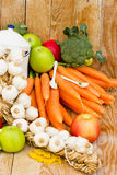 Ripe, organic fruits and vegetables. Ripe fruits and vegetables are the basis of healthy eating and you do not need atibiotics - tablets royalty free stock photos