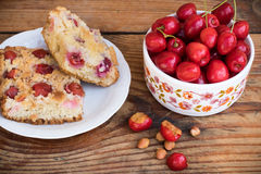 Ripe organic homegrown cherries and cherry cake Stock Image