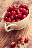 Ripe organic homegrown cherries and stones in a vintage ceramic bowl Royalty Free Stock Image