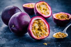 Ripe organic passion fruit Royalty Free Stock Images