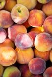 Ripe organic peaches. Top view stock photos
