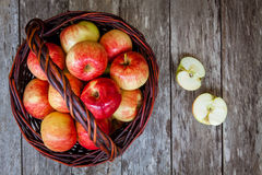 Ripe organic red apples in a basket Royalty Free Stock Photography