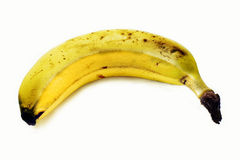 Ripe organical banana. A close up of a rather ripe organical banana Stock Photos