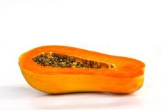 Ripe papaya. Ripe papaya, cut in half on a white background Stock Photo