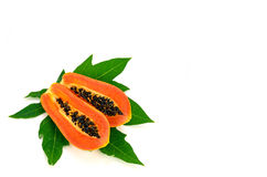 Ripe papaya (Carica papaya L) with leaves isolated with clipping Royalty Free Stock Photo