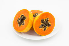 Ripe papaya in dish Stock Photography