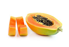Ripe papaya isolated on white background Royalty Free Stock Photos