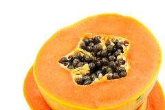 Ripe papaya isolated on white Royalty Free Stock Photography