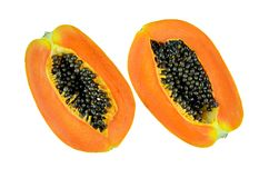 Ripe papaya isolated on white background with clipping path. Stock Images