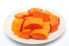 Ripe papaya on plate Royalty Free Stock Photo