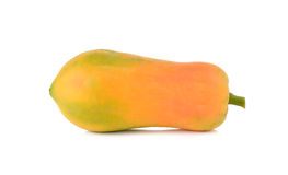 Ripe papaya with stem on white Royalty Free Stock Images