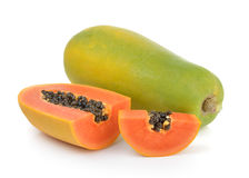 Ripe papaya on white background Stock Image