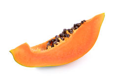 Ripe papaya on white background Stock Image