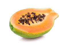 Ripe papaya on white Stock Photo