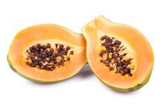 Ripe papaya  on white Royalty Free Stock Photo