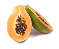 Ripe papaya  on white Royalty Free Stock Photography
