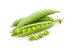 Ripe pea vegetable with green leaf isolated Royalty Free Stock Images