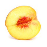 Ripe peach fruit cut isolated Stock Photography