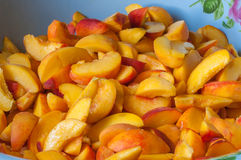Ripe peach  fruit slice with juice. Cooking jam or Royalty Free Stock Photos