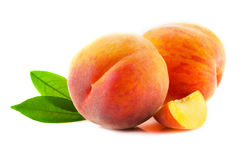 Ripe peach fruits. Stock Photos