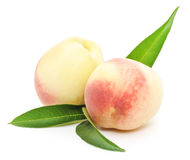 Ripe peach fruits with green leaves Royalty Free Stock Photos
