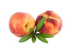 Ripe Peach fruits isolated on white Stock Photos