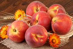 Ripe Peach Fruits Still Life Stock Photography