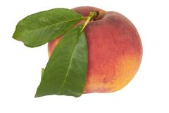 Ripe Peach with Leaf Royalty Free Stock Images