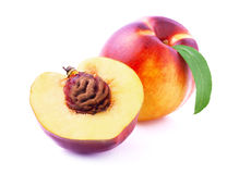 Ripe peach with leaf. Stock Photo