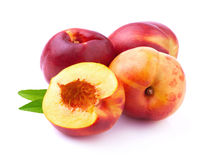 Ripe peach with leaf. Royalty Free Stock Image