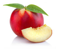 Ripe peach (nectarine) fruit with slices isolated on white Stock Photo