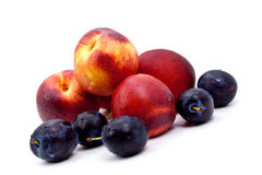 Ripe peach and Plums on a white Plate Royalty Free Stock Photo