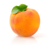 Ripe Peach. Single Peach with Leaf on White Background stock photos